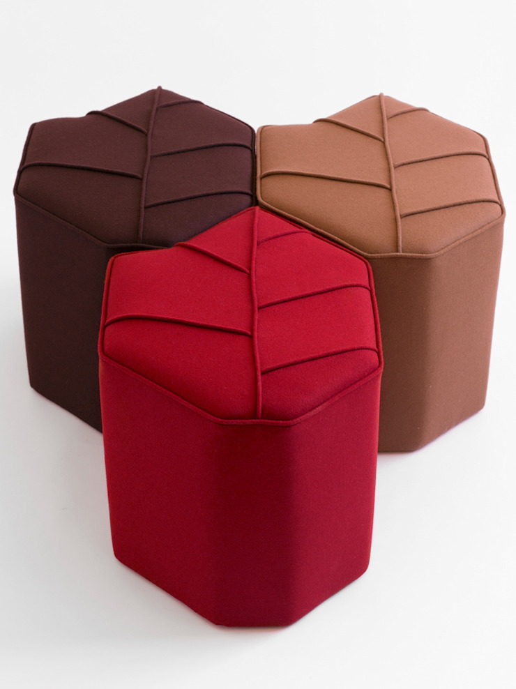 Modular footstools in the shape of a Leaf by design by nico