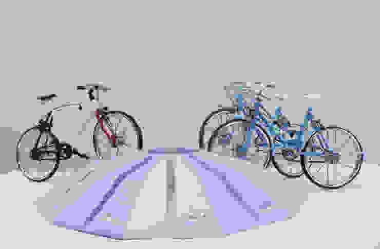 電磁ロック駐輪ラック    Electromagnetic lock bicycle parking rack : YUMIKA Designが手掛けた現代のです。,モダン