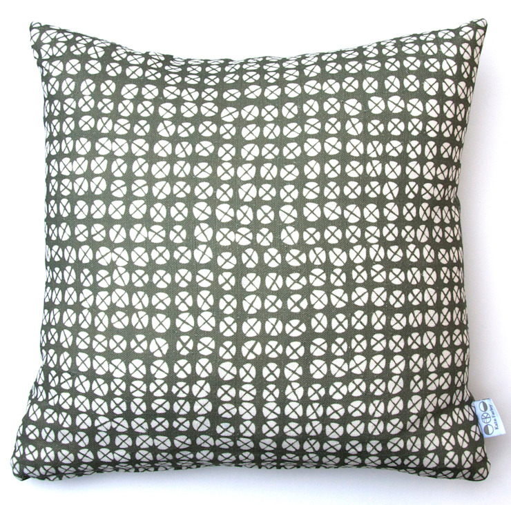 Plot to Plate XO square cushion by Kate Farley: modern  by Kate Farley, Modern