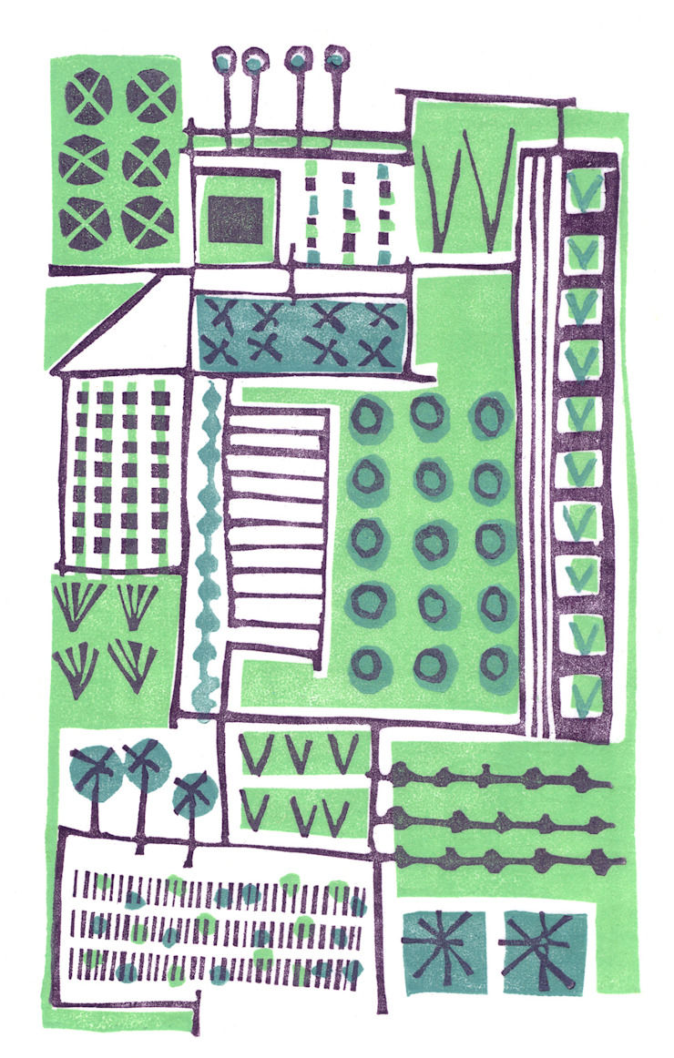 Allotments 1 - lino print by Kate Farley: modern  by Kate Farley, Modern