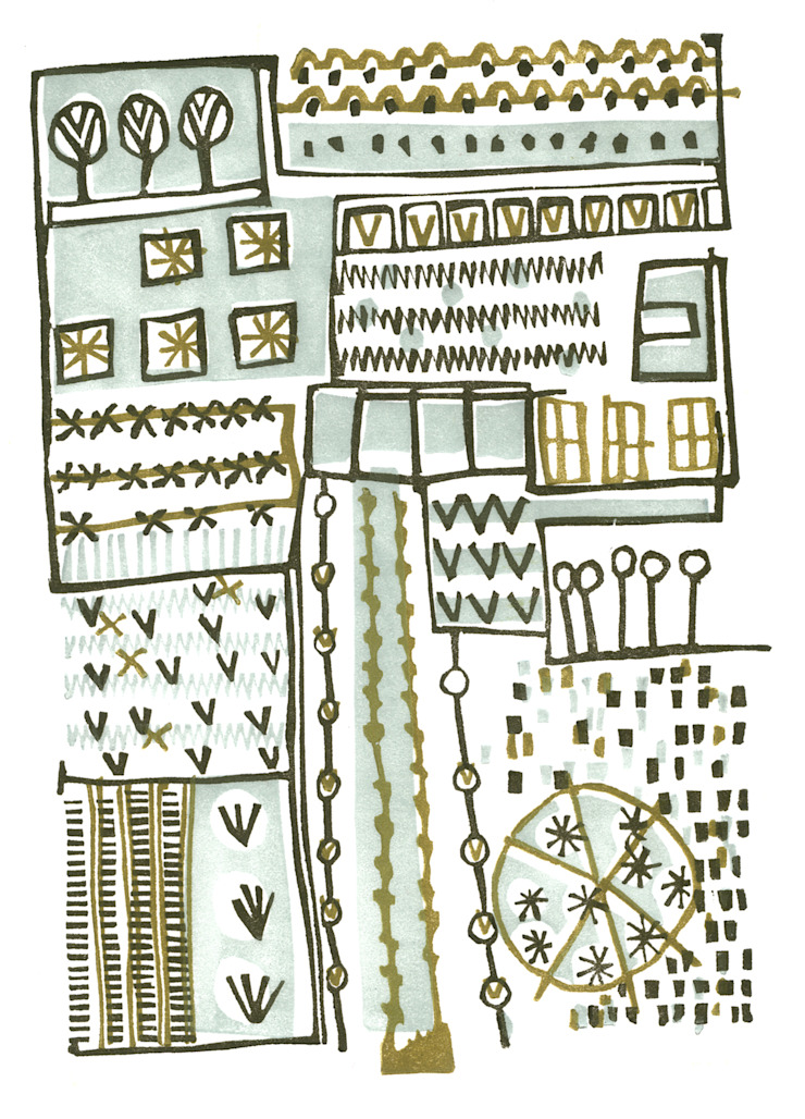 Allotments 2 - lino print by Kate Farley: modern  by Kate Farley, Modern