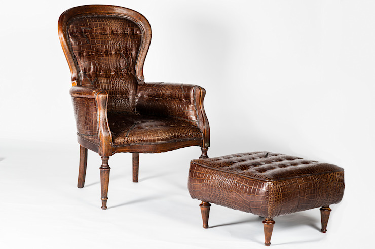 ARMCHAIR AND PUFF LEATHER von Maggi Massimo Rustikal
