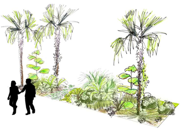 à la source du grand chocolat, jardins de la Cité du chocolat de Valrhona Centre d'expositions tropicaux par ATELIER CHARDON PAYSAGES Tropical