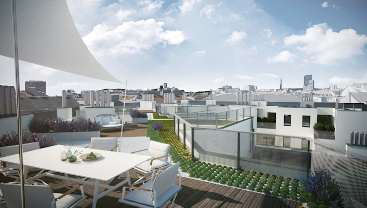 Terrazas de estilo  de Hofmann Architekten ZT GmbH, Moderno
