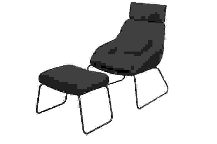 Palau chair Blue extended + ottoman,sled shaped base: modern  door Palau, Modern