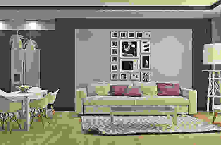 Оттенки фиолетового Гостиная в скандинавском стиле от Pure Design Скандинавский