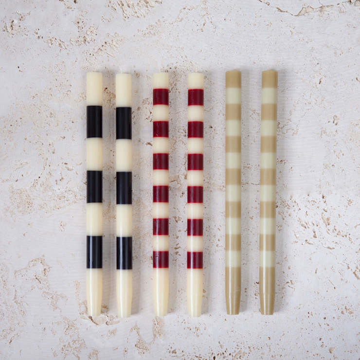 Striped Candles pair - simplistic collection: modern  by Fate London, Modern