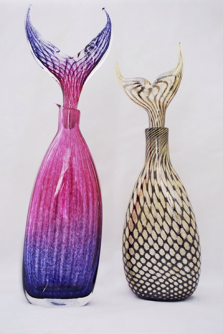 Fishtail Bottles by Allister Malcolm at Riverside Art and Glass: modern  by Riverside Art and Glass, Contemporary Gallery, Modern