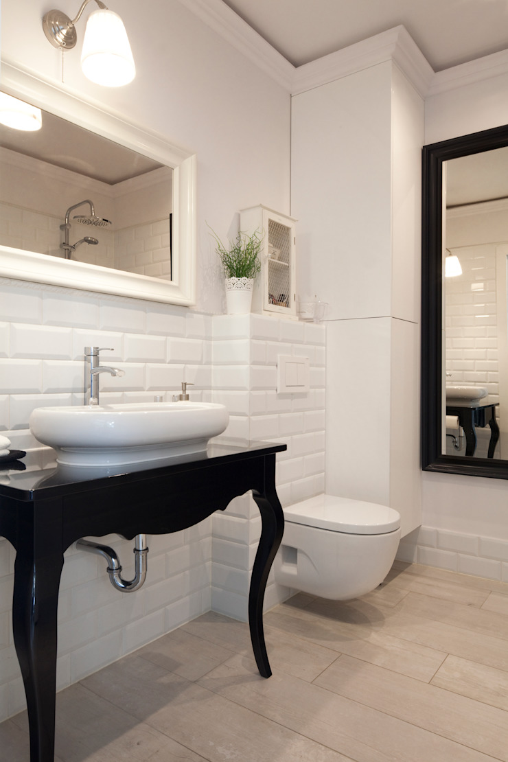 wnętrza Skandynawska łazienka od PIANZU Skandynawski