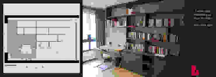 grande bibliothèque Bureau moderne par Agence Diot-Clément Moderne
