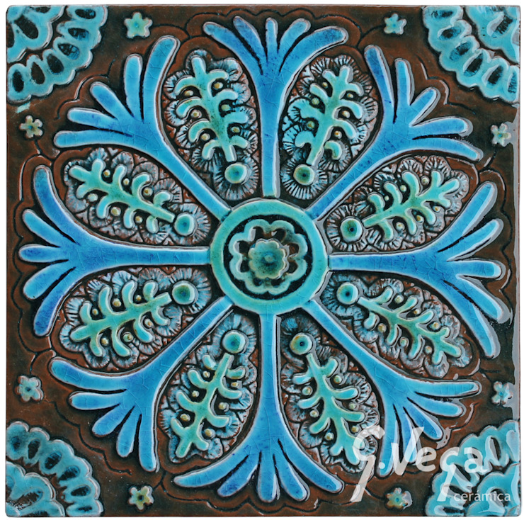 Individual wall tile based on Suzani fabric from Uzbekistan: mediterranean  by Gvega Ceramica, Mediterranean Ceramic