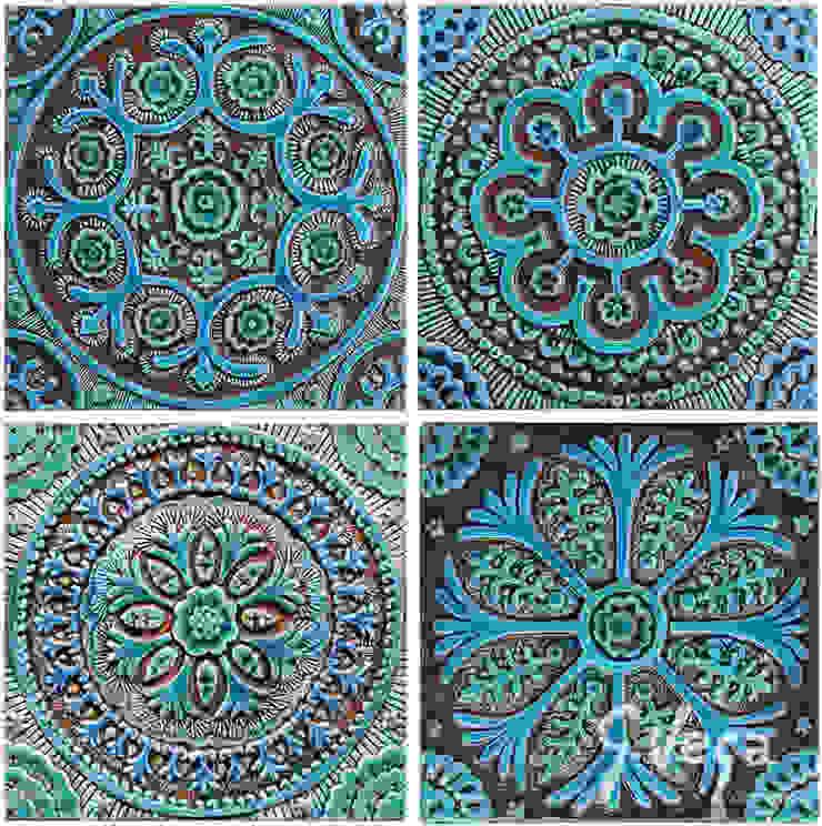A group of four designs based on the Suzani fabric: mediterranean  by Gvega Ceramica, Mediterranean Ceramic