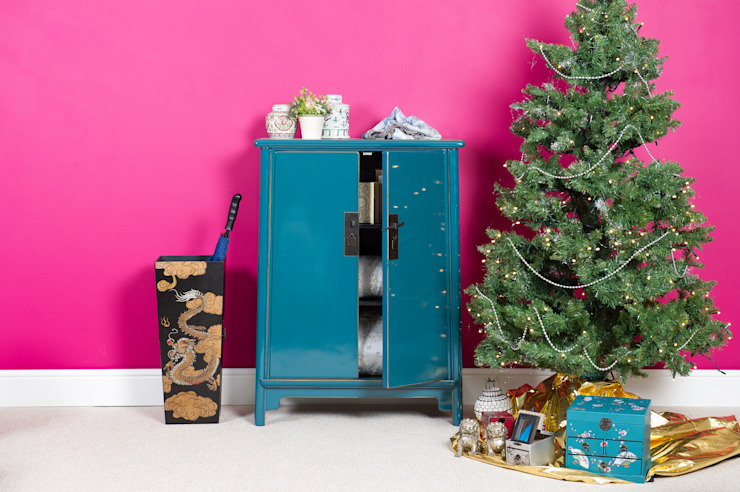 Teal Lacquer Tapered Cabinet: asian  by Orchid, Asian