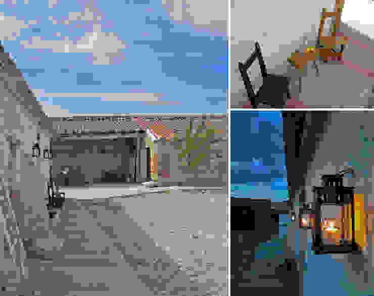 Patio en casa agrícola, Valladolid Jardines de estilo rústico de CarlosSobrinoArquitecto Rústico