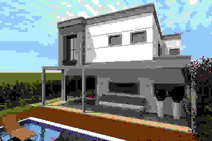 Fachada Posterior Casas modernas por Konverto Interiores + Arquitetura Moderno