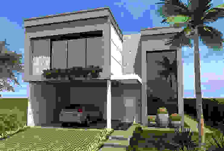 Fachada Frontal Casas modernas por Konverto Interiores + Arquitetura Moderno