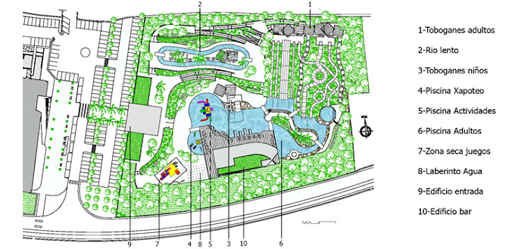 General plan of the waterpark by FG ARQUITECTES Modern