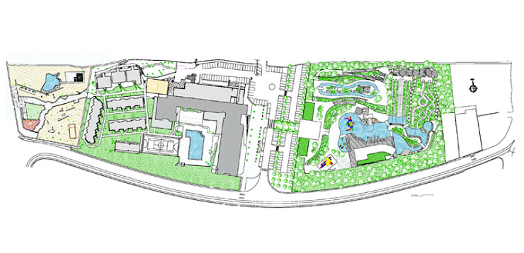 General plan of the Sur Menorca hotel and the waterpark by FG ARQUITECTES Modern