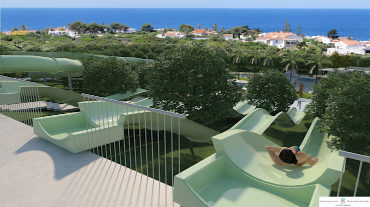 View from the departure platform of the waterslides FG ARQUITECTES Modern pool