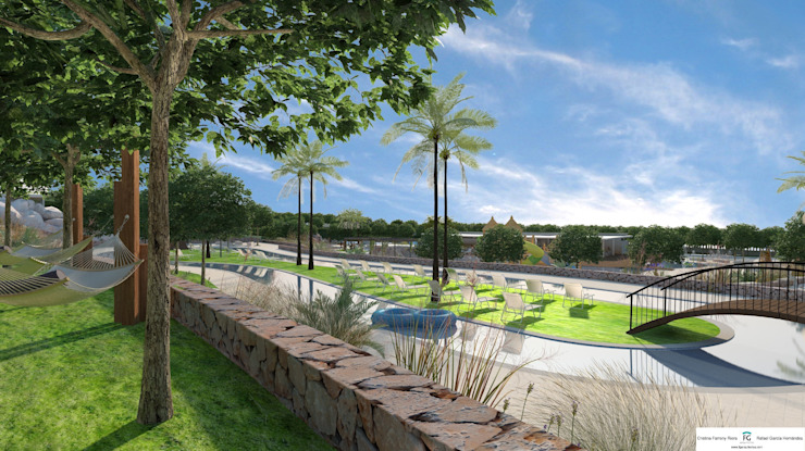 View of the lazy river FG ARQUITECTES Modern pool