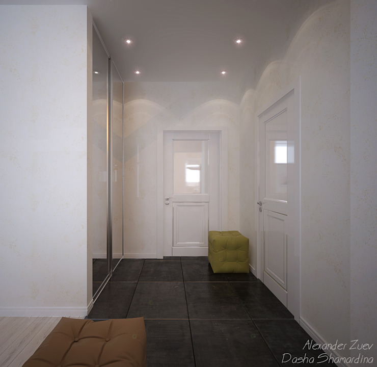 """1-комнатная квартира в ЖК """"На Морской"""" (Краснодар) Коридор, прихожая и лестница в модерн стиле от Студия интерьерного дизайна happy.design Модерн"""