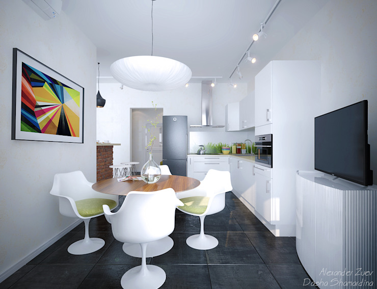 "1-комнатная квартира в ЖК ""На Морской"" (Краснодар) Кухня в стиле модерн от Студия интерьерного дизайна happy.design Модерн"