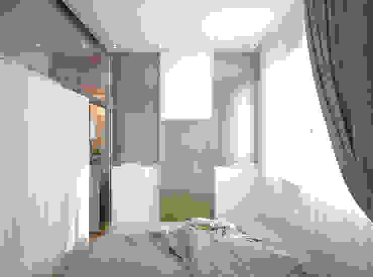 """1-комнатная квартира в ЖК """"На Морской"""" (Краснодар) Спальня в стиле модерн от Студия интерьерного дизайна happy.design Модерн"""