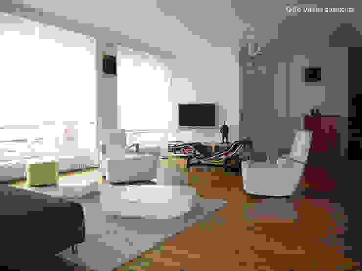 LOFT R - PARIS XI Agence d'architecture Odile Veillon / ARCHI-V.O Ruang Keluarga Gaya Industrial