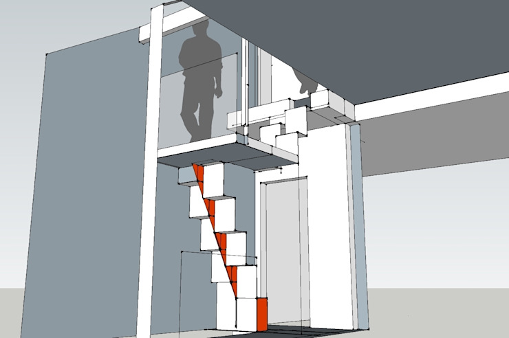 Design detail Modern corridor, hallway & stairs by Phi Architects Modern