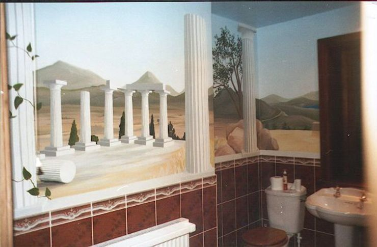 Greek Vista Bathroom Mural Marvellous Murals Mediterranean style walls & floors