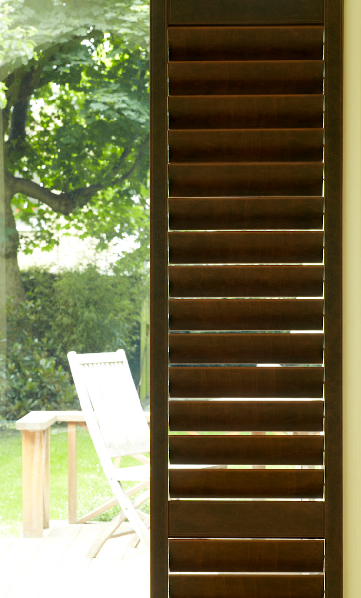 Faux Leather and Suede Shutters by The New England Shutter Company