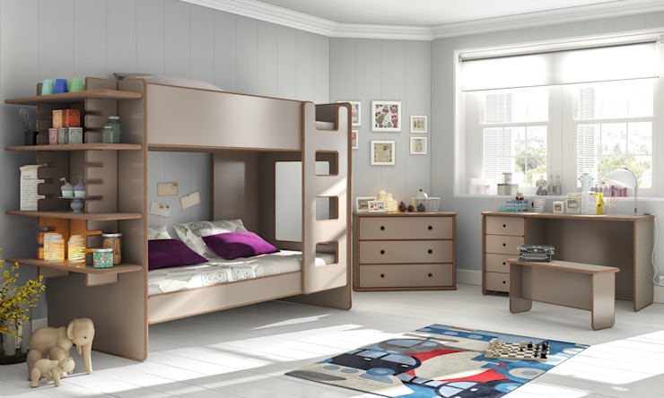 Kids Bunk Bed With Slide In Shelf in David Design de Cuckooland Moderno
