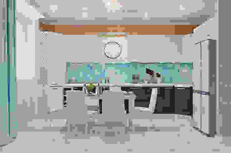 Гостиная с камином в морском стиле Кухня в стиле модерн от Студия дизайна Interior Design IDEAS Модерн