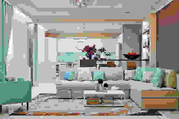 Гостиная с камином в морском стиле Гостиная в стиле модерн от Студия дизайна Interior Design IDEAS Модерн