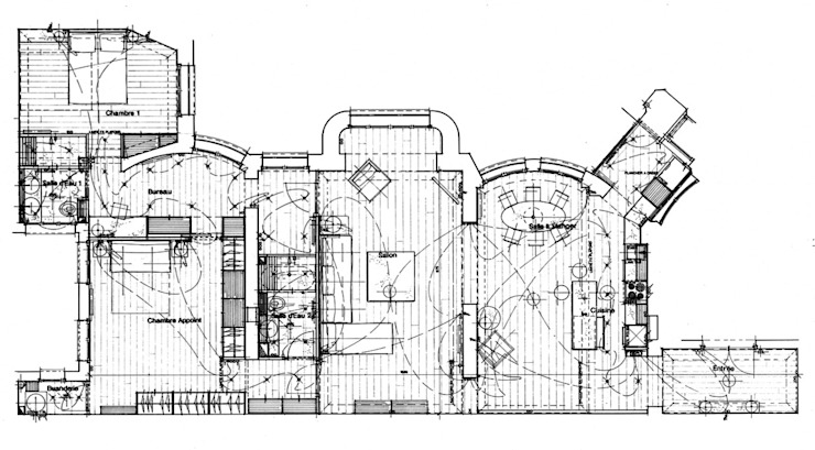 Plan général d'Avant Projet Cuisine minimaliste par Philippe Ponceblanc Architecte d'intérieur Minimaliste