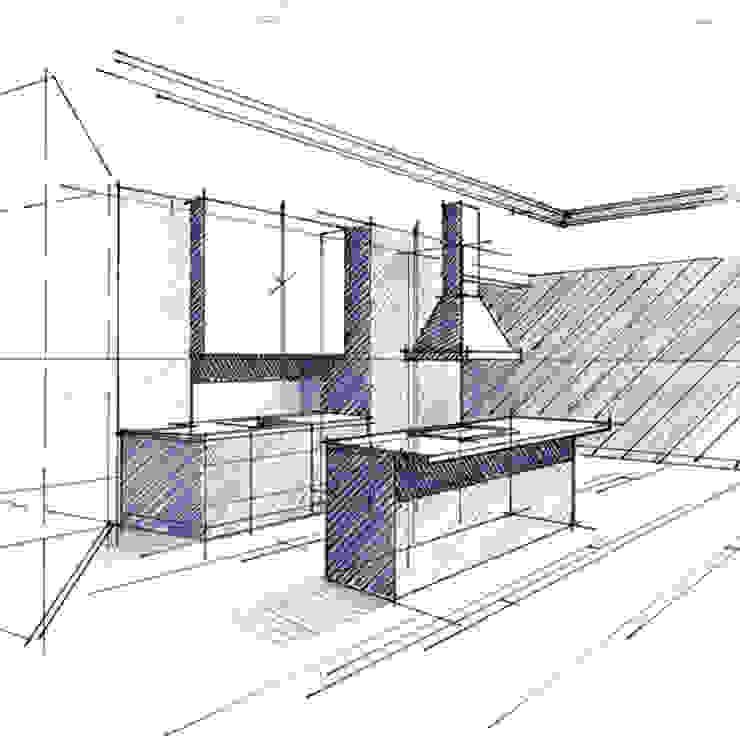 Croquis de principe en phase d'Avant Projet Sommaire Cuisine minimaliste par Philippe Ponceblanc Architecte d'intérieur Minimaliste