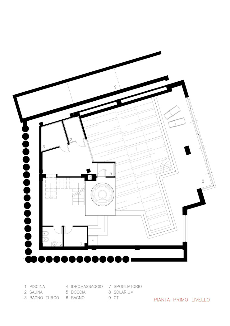 pianta primo livello Architer Associati SpaAccessori per Piscina & Spa