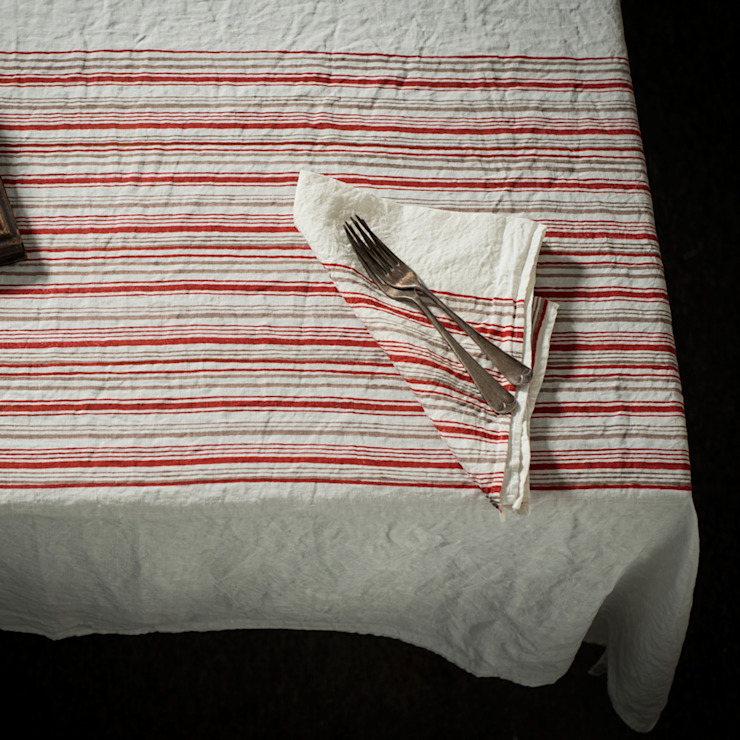 Hand block printed linen tablecloth: rustic  by AllÓRA, Rustic