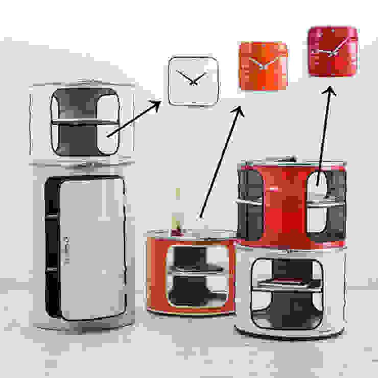 Horloges et meubles en bidon industriel par Rose Bunker