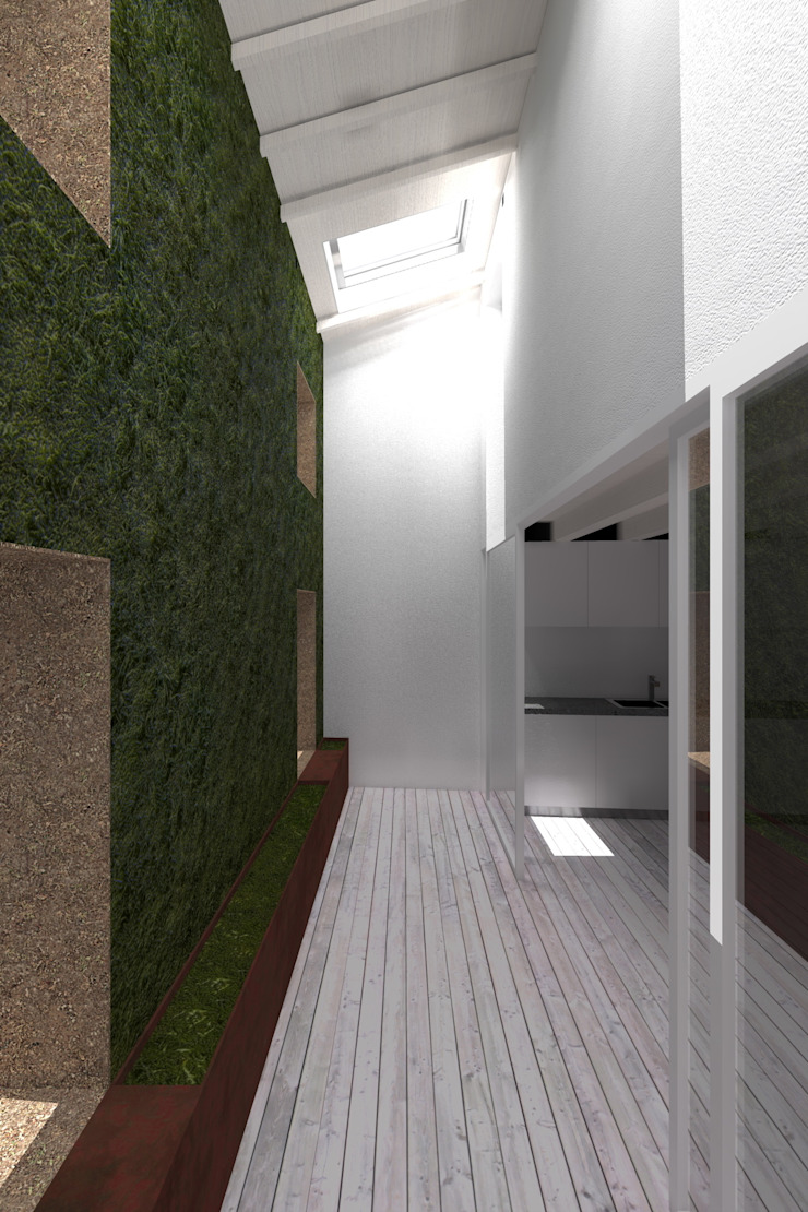rendering su cavedio con parete verde Case moderne di viabrenneroarchitettura Moderno