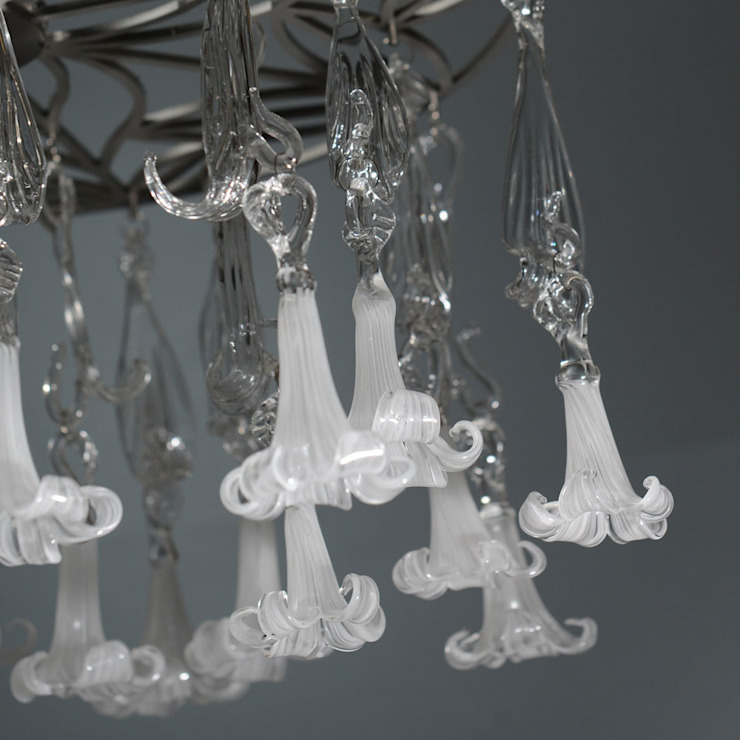 Glass chandelier  with white flowers - detail: modern  by A Flame with Desire, Modern