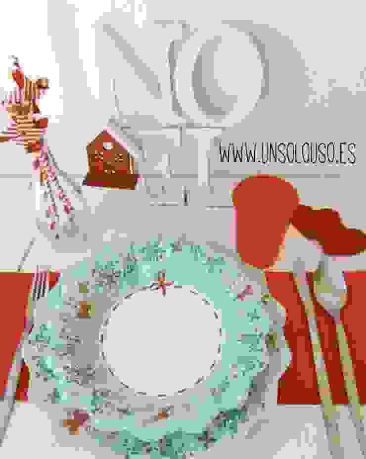 Platos de usar y tirar para la mesa de Navidad de UnSoloUso