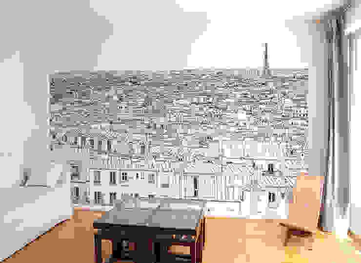 Papier peint Vue de Paris Invalides Tour Eiffel Panoramique par Ohmywall Moderne