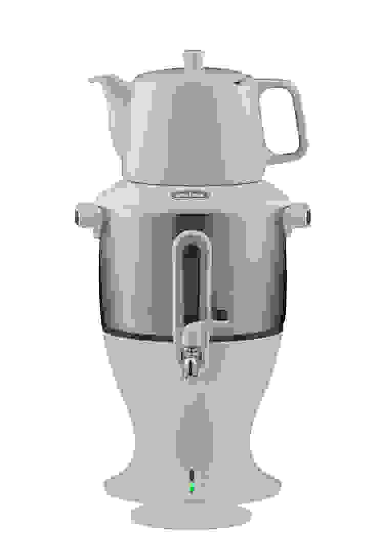 Der klassische Samowar, weiß mit Edelstahl-Wasserbehälter von Mulex GmbH