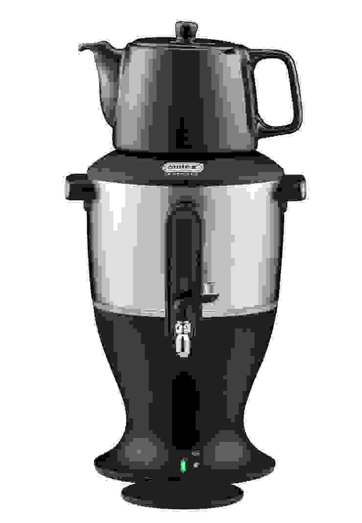 Der klassische Samowar, schwarz mit Edelstahl-Wasserbehälter von Mulex GmbH