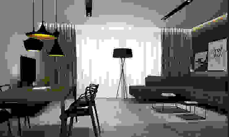 Projekt wnętrz domu jednorodzinnego Nowoczesny salon od STUDIO MAC Nowoczesny