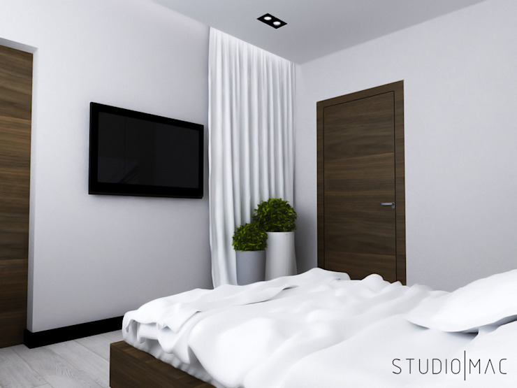 Projekt wnętrz domu jednorodzinnego Nowoczesna sypialnia od STUDIO MAC Nowoczesny
