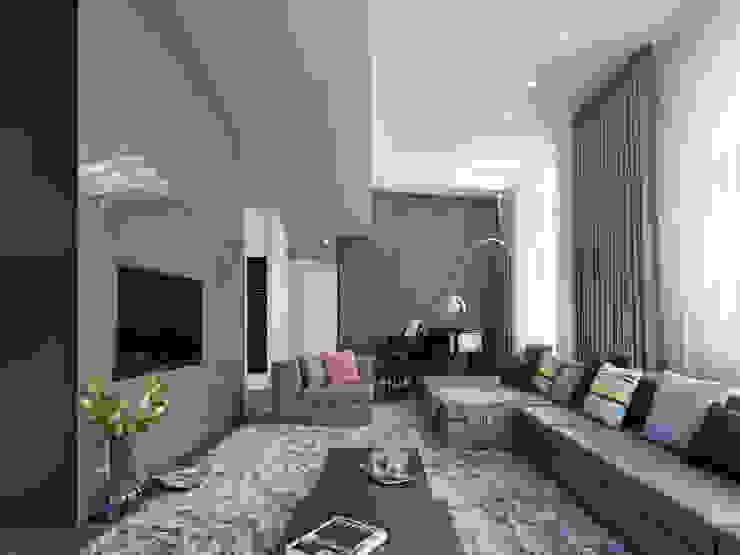 Loft ESN Гостиная в стиле модерн от Ippolito Fleitz Group – Identity Architects Модерн