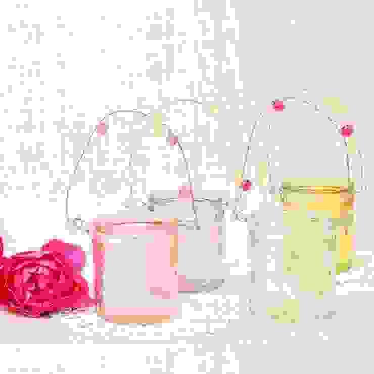 Set de 4 farolillos de cristal para velas - colores pasteles de Beautifulbluebrides.com Rústico