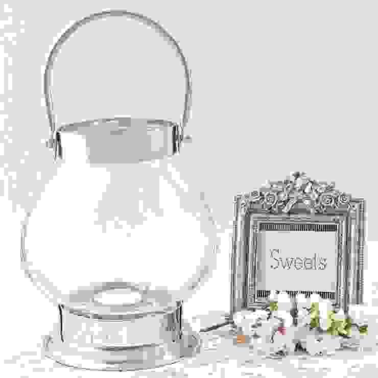 Farolillo de cristal redondo para velas de Beautifulbluebrides.com Rústico